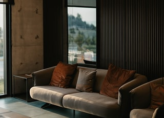 brown and white couch beside window