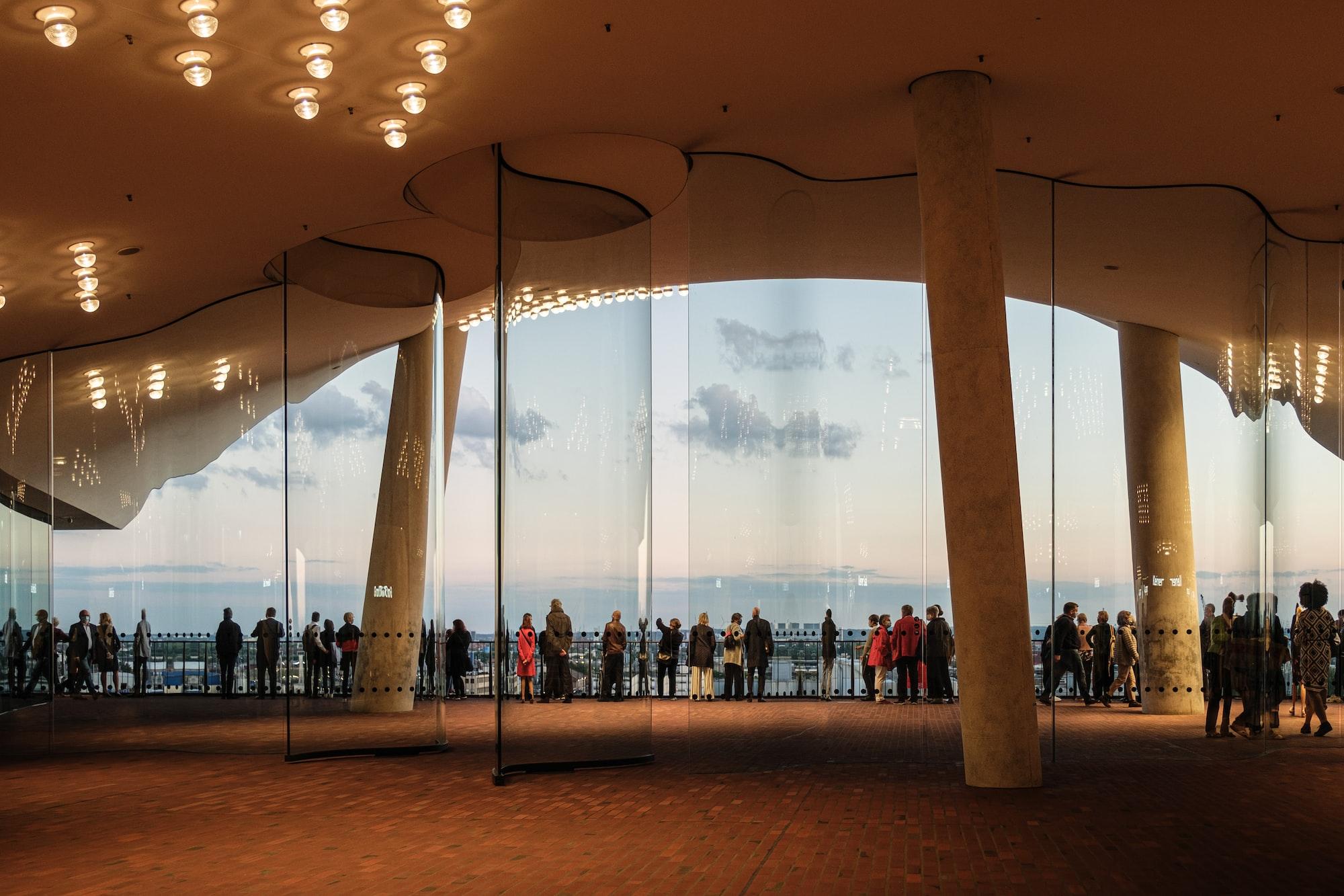 People overlooking Hamburg Hafen at Elbphilharmonie viewpoint
