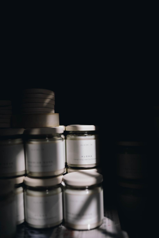 white and black plastic bottles