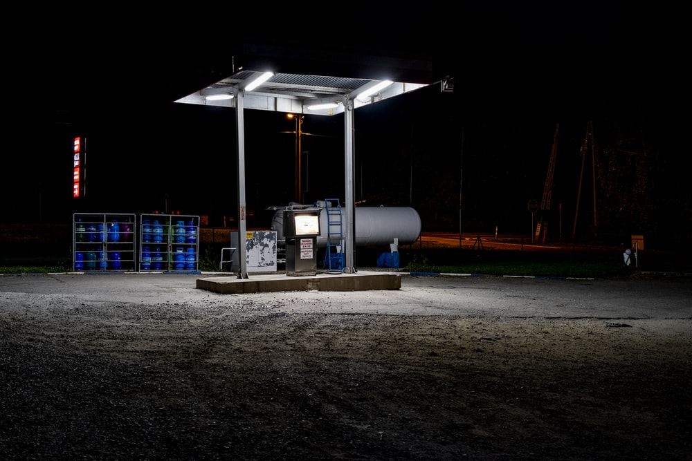 white and blue gas station