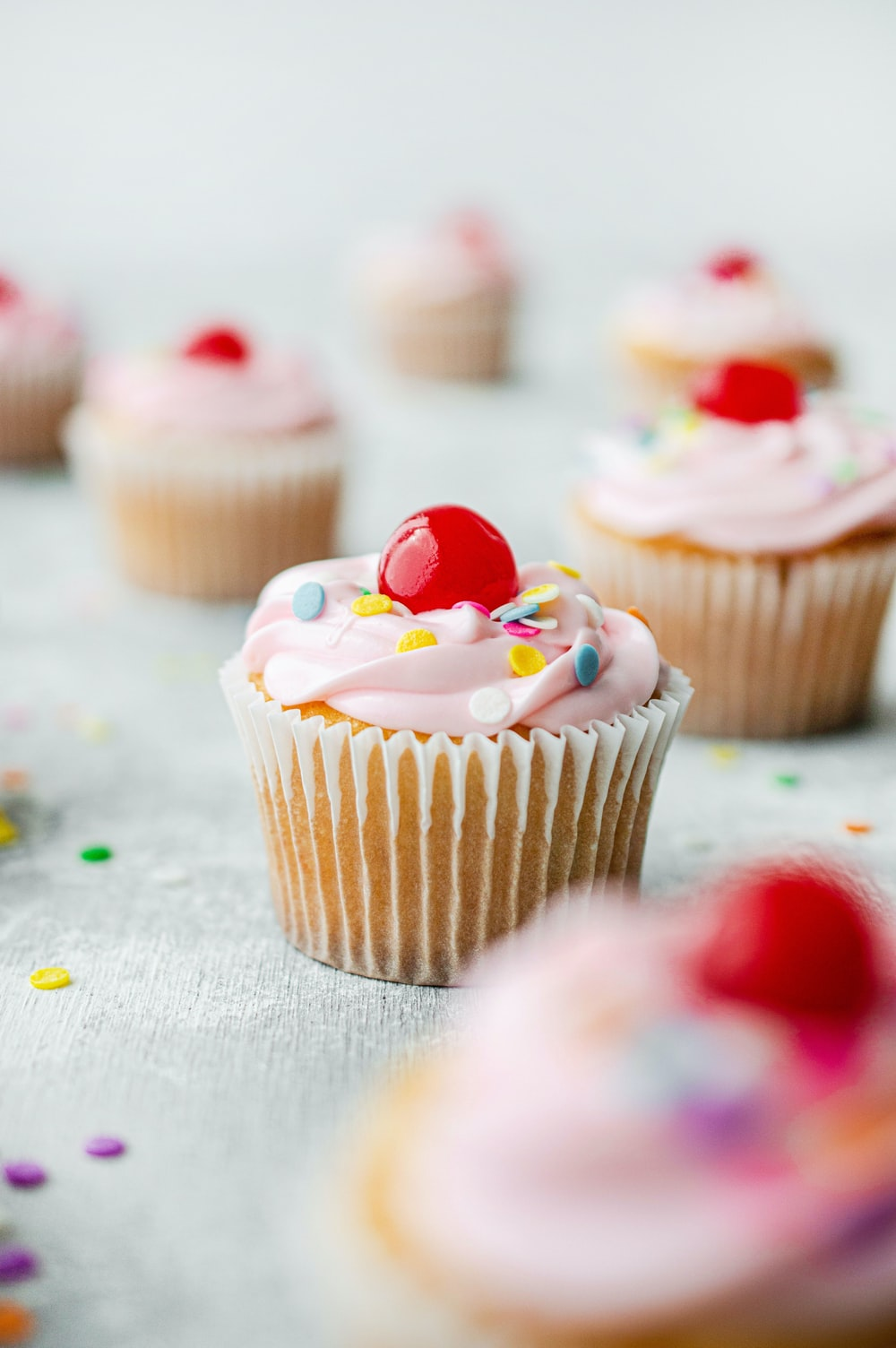 cupcake with white icing on top