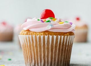 cupcake with pink icing on top