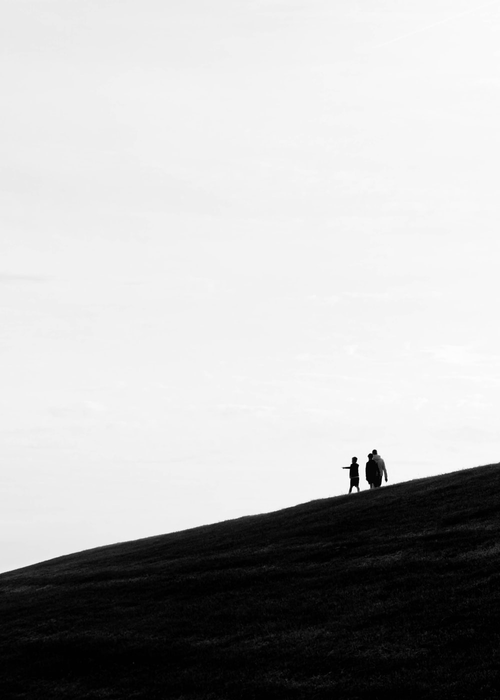 silhouette of 2 person walking on hill during daytime