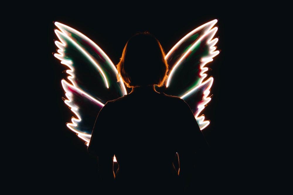 man in black hoodie with white wings