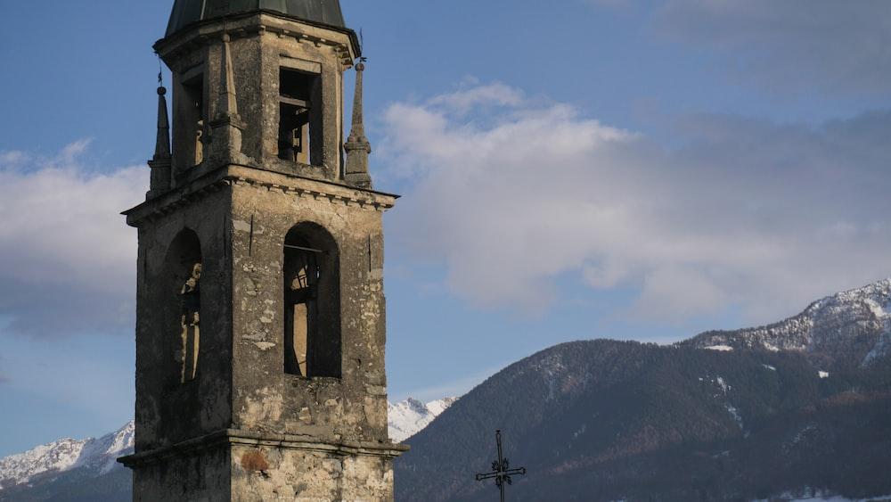 gray concrete church on top of mountain