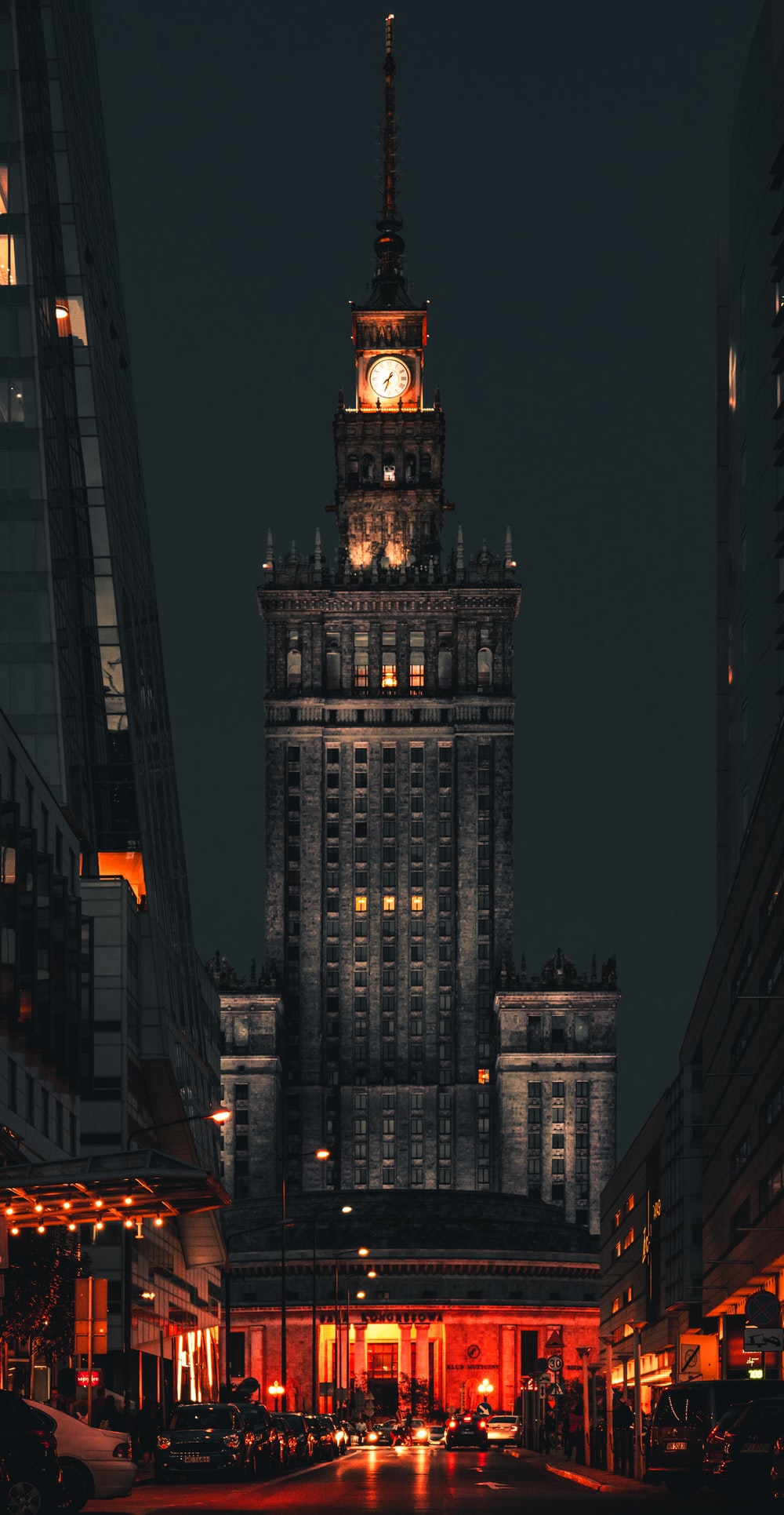 brown concrete building during night time