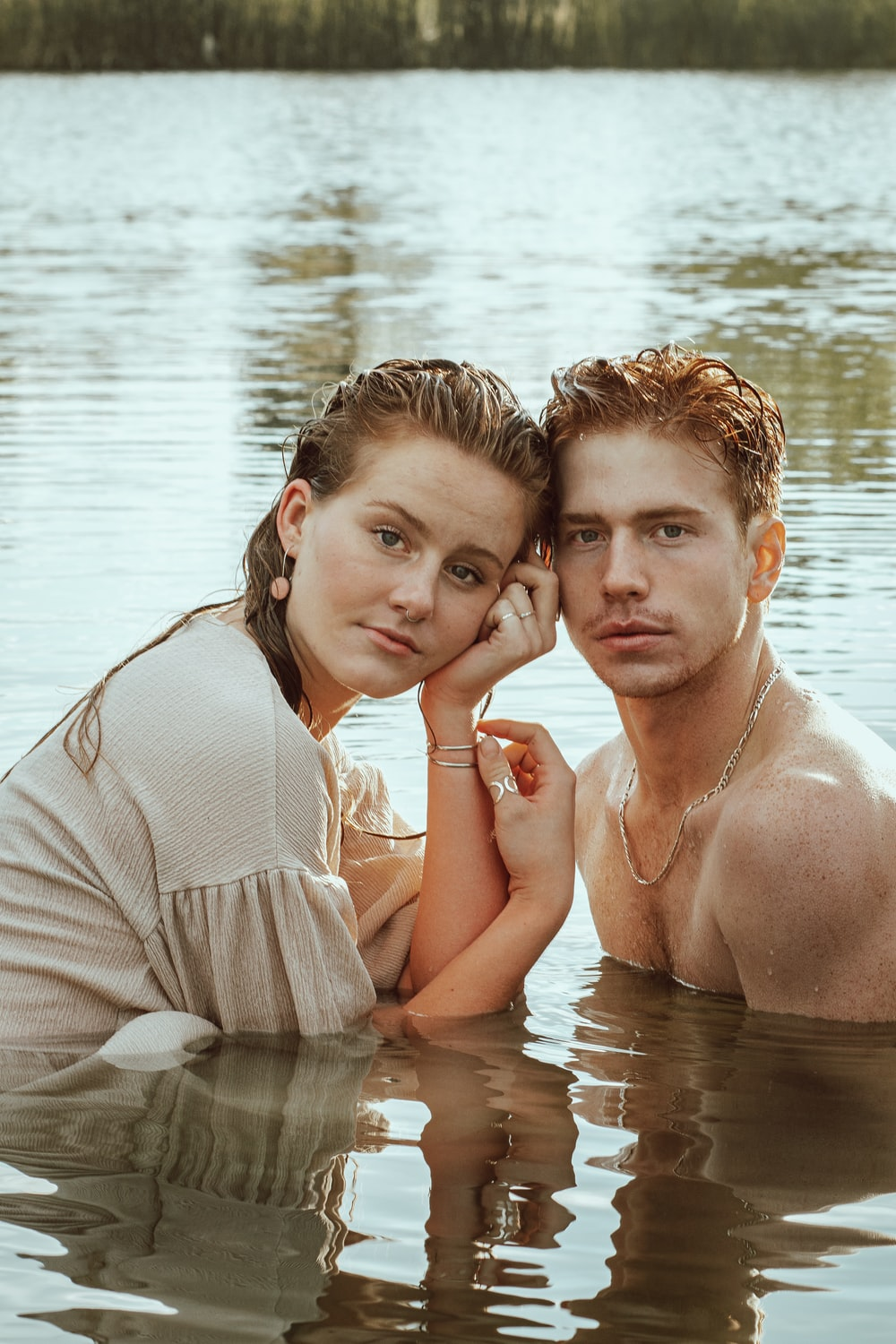 man and woman in water