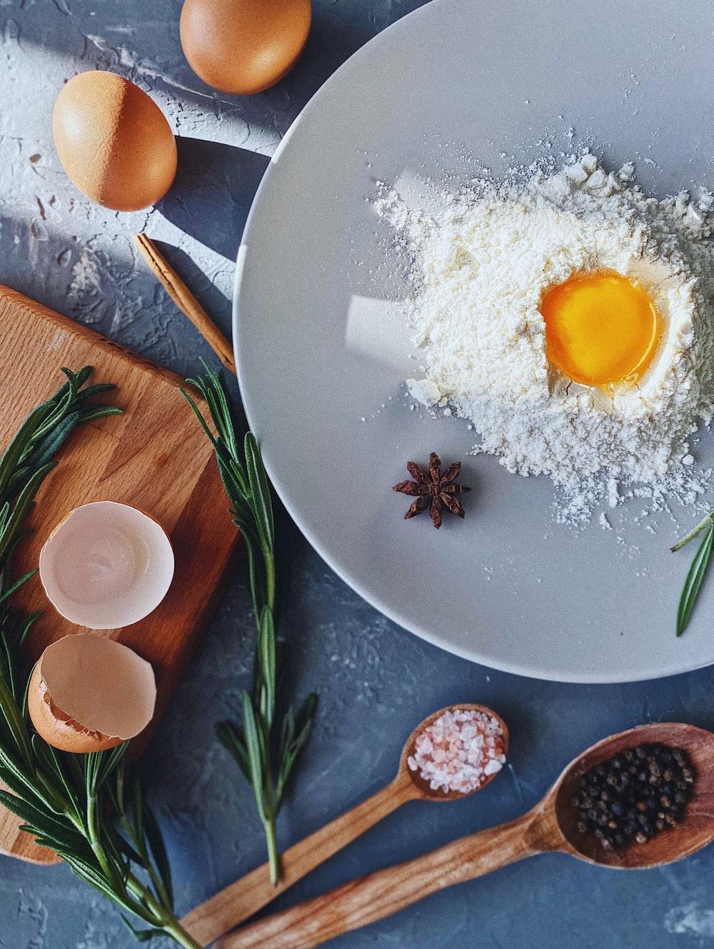 egg on white ceramic plate