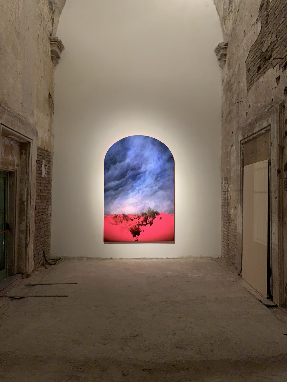 blue sky painting on white wall