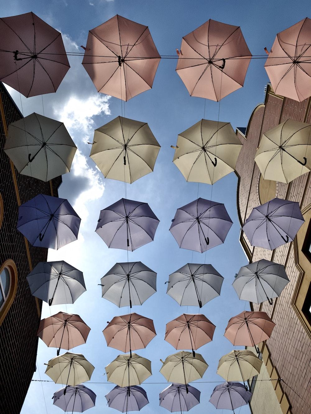 white and black umbrella paper