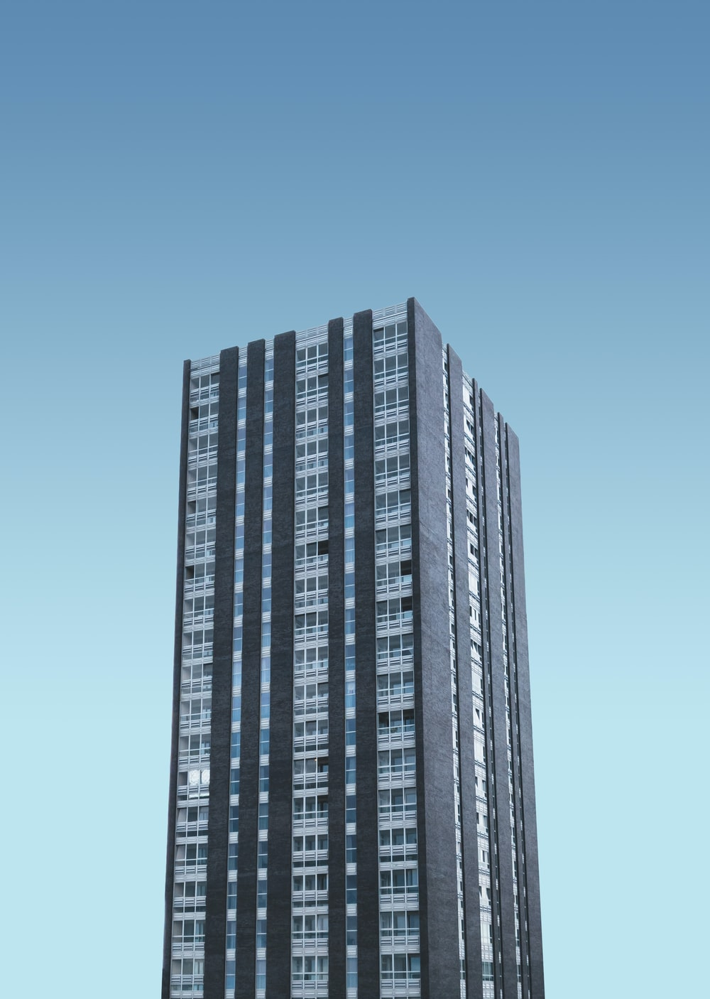 black and white high rise building