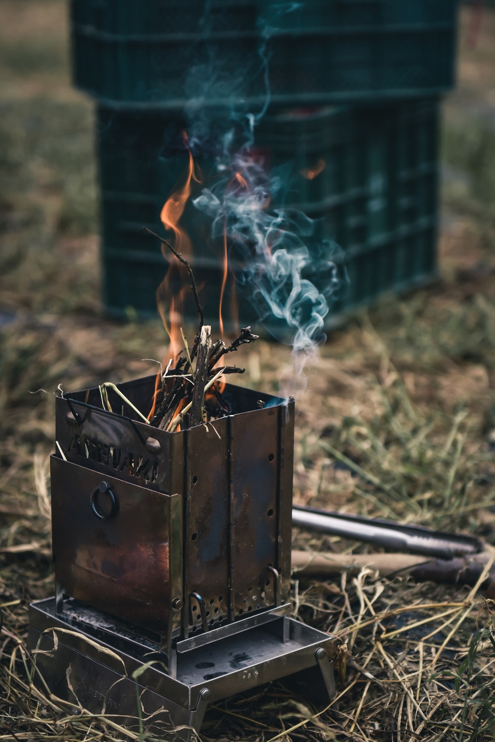 fire in brown wooden box