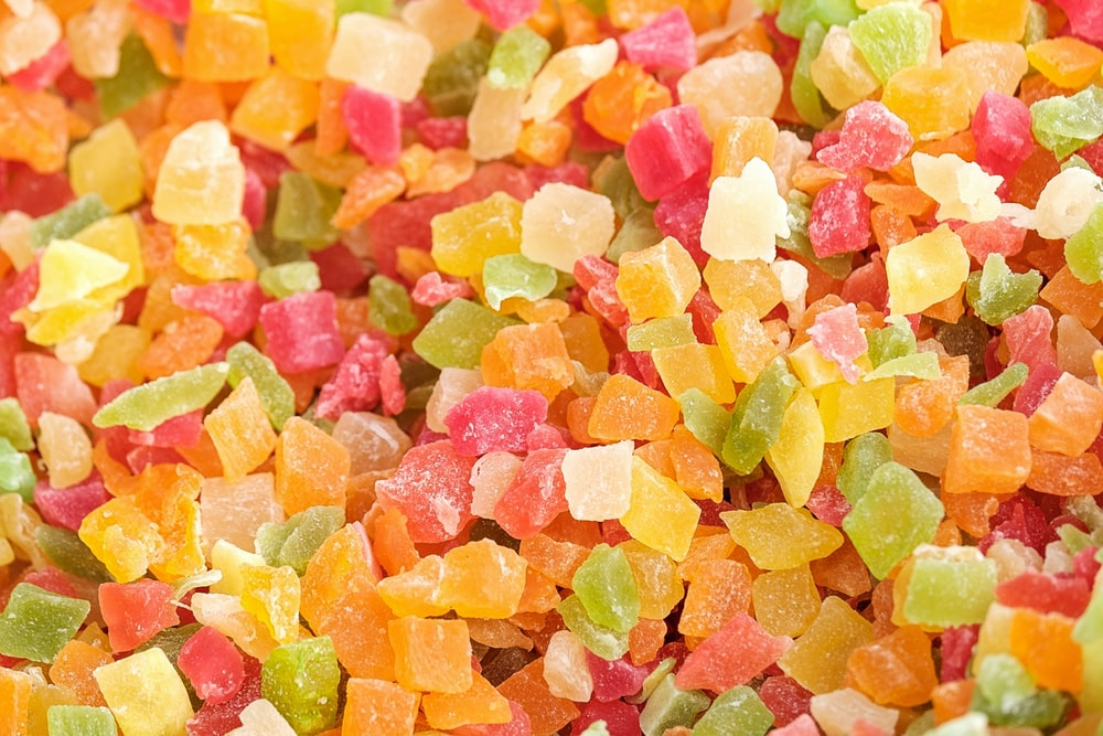 yellow pink and green candies