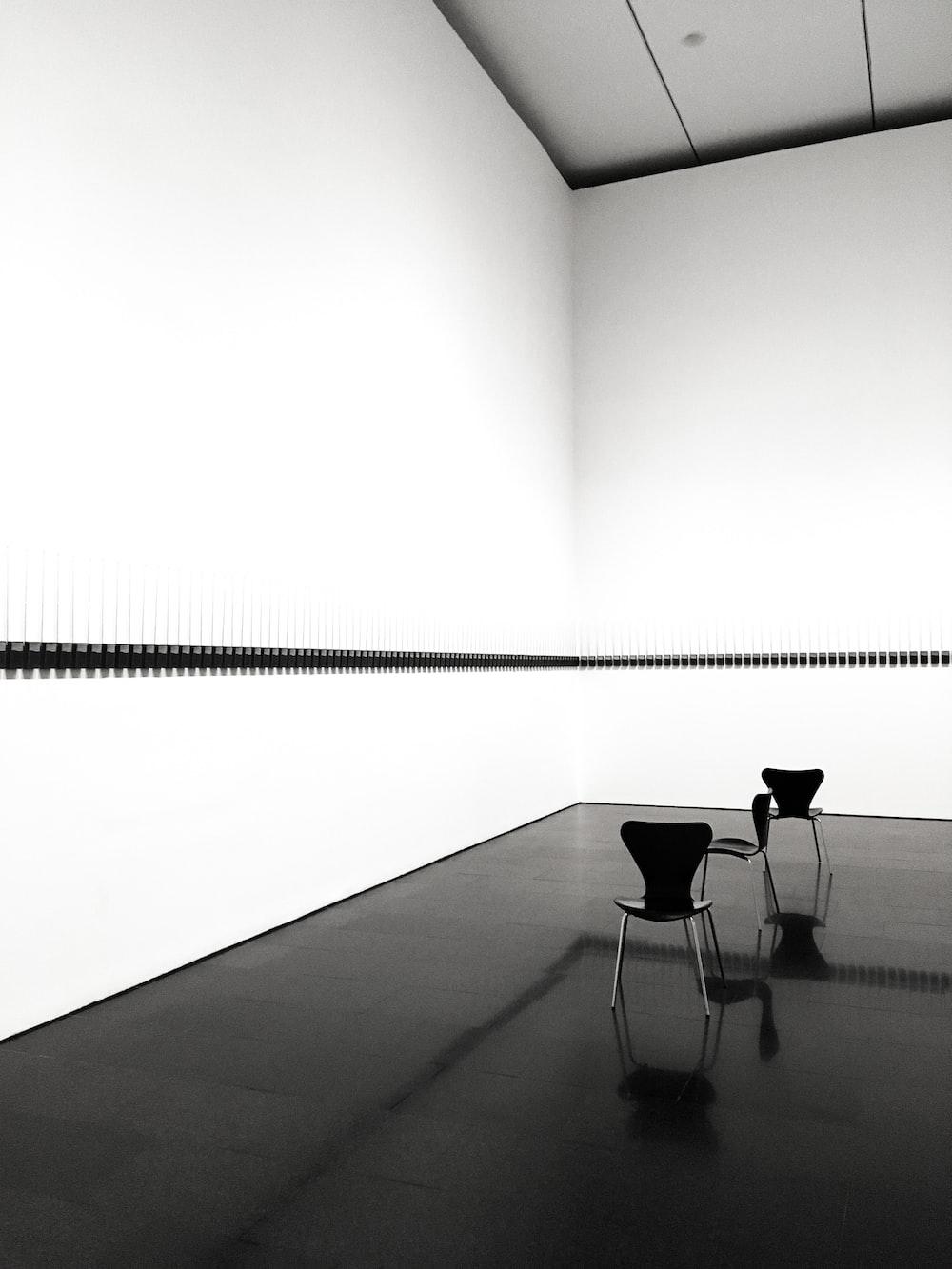 black chair on gray floor