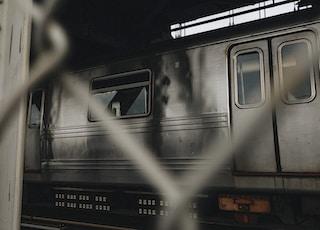 grey train in a train station