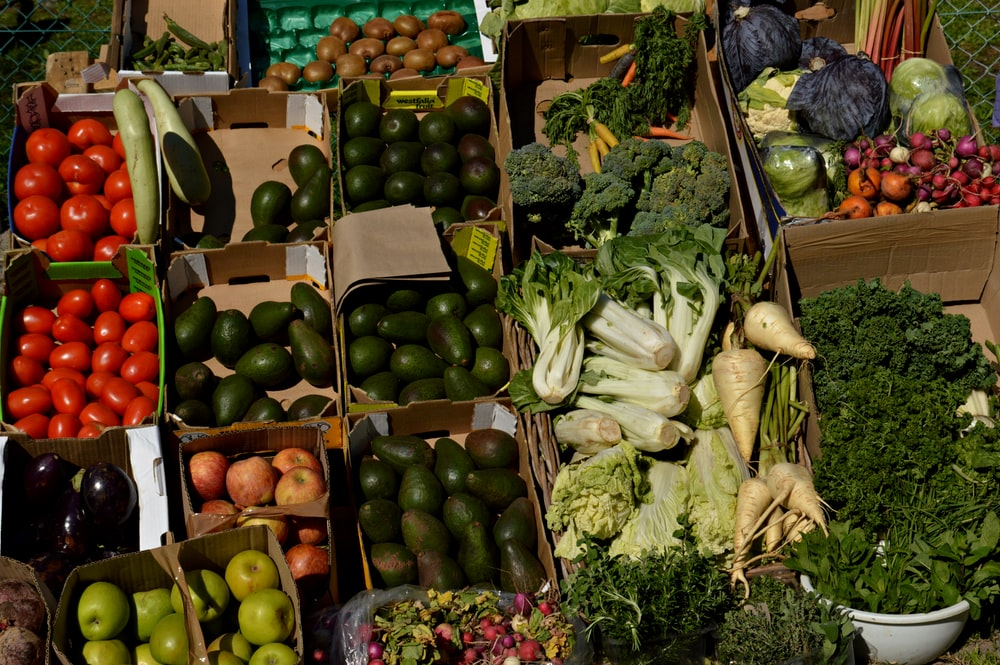 green and white vegetables on market