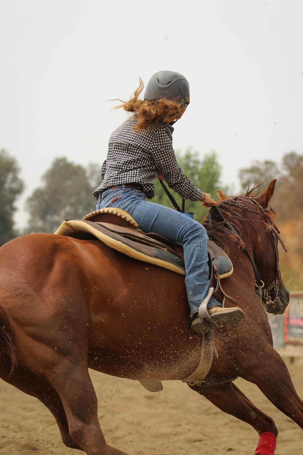 woman in blue and white striped long sleeve shirt riding brown horse during daytime