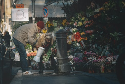 Rome woman in gray jacket sitting on black concrete bench near red flowers during daytime
