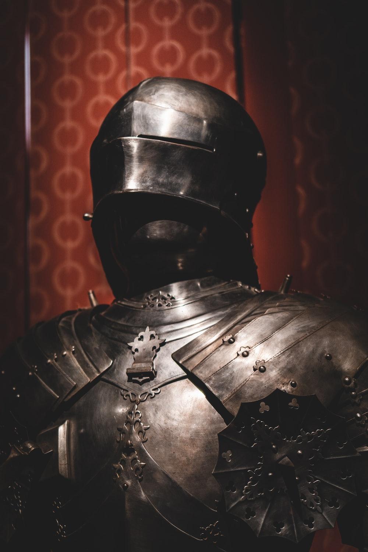 black and silver steel helmet