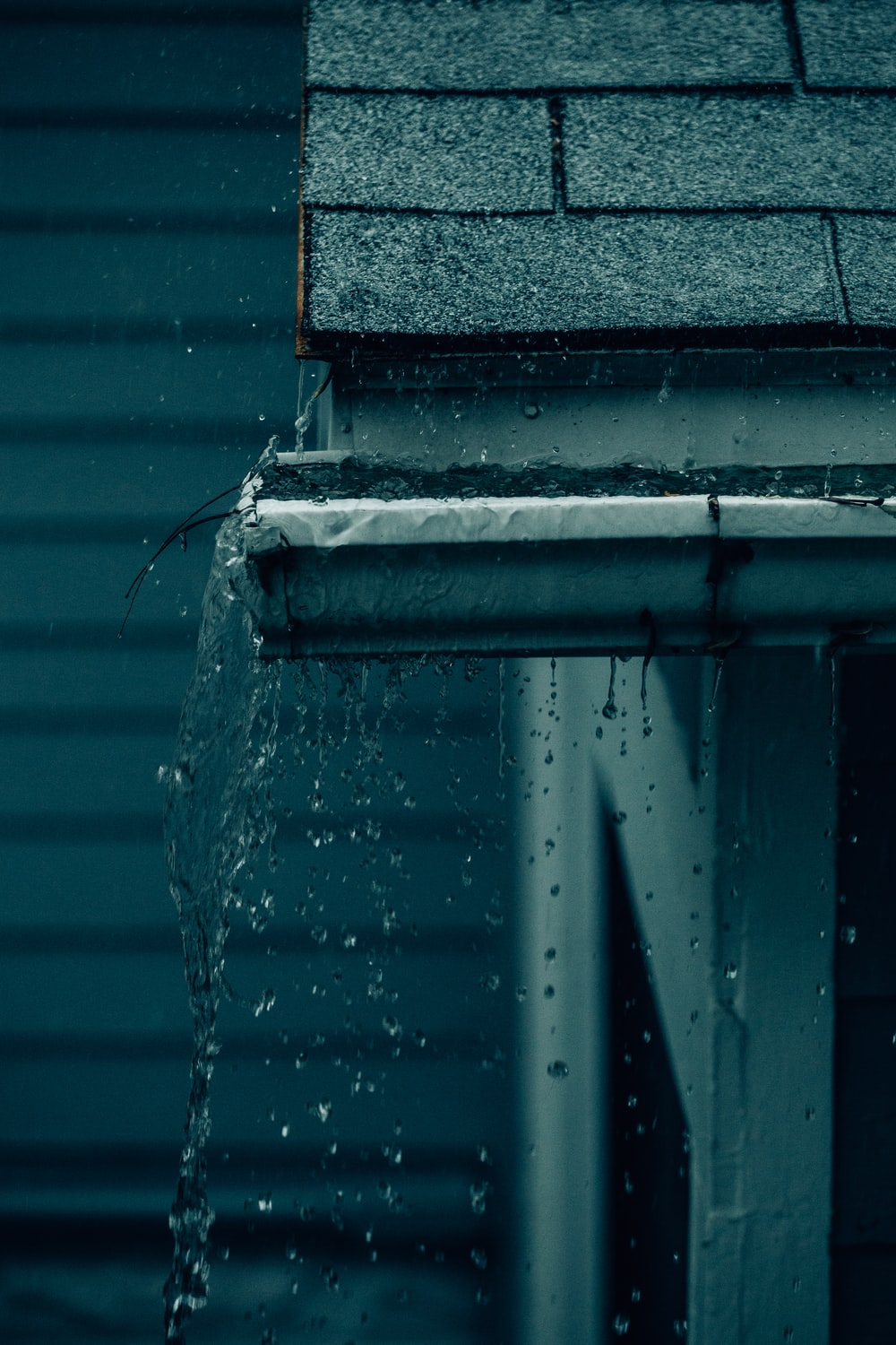 water falling from the roof