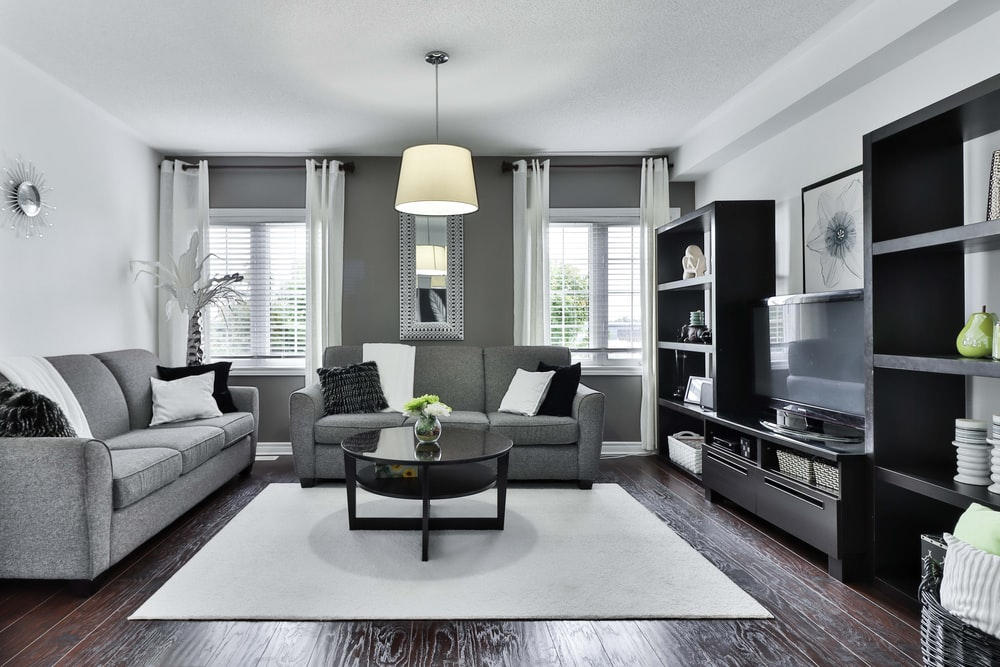 gray and white living room set