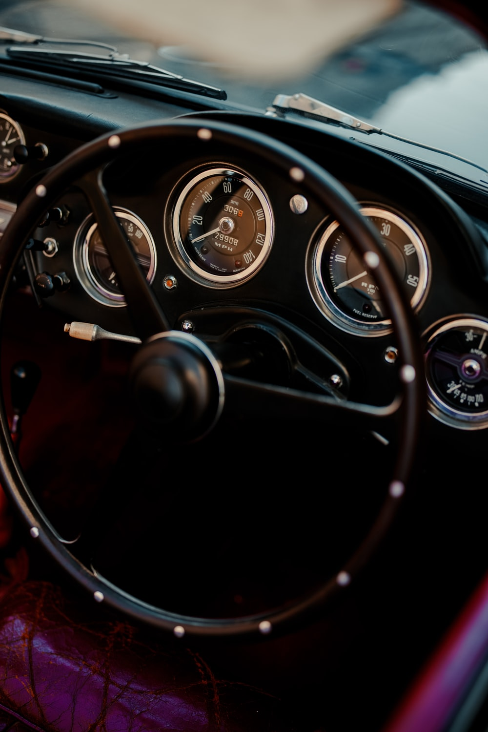 black and silver steering wheel