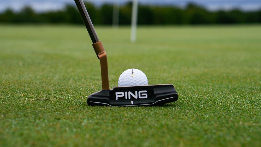white golf ball on black and white golf club