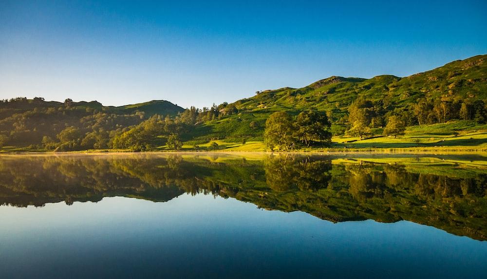 green grass field beside lake under blue sky during daytime
