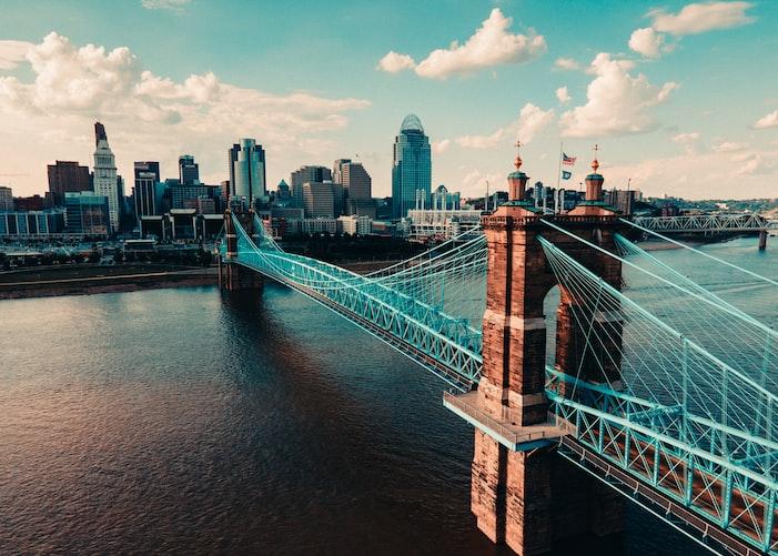 Image of Cincinnati, Ohio bridge over a bay of water.