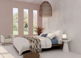 white and blue bed linen