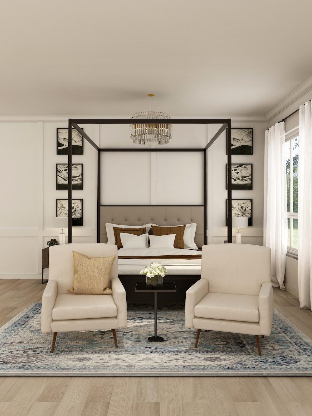 white and black living room set