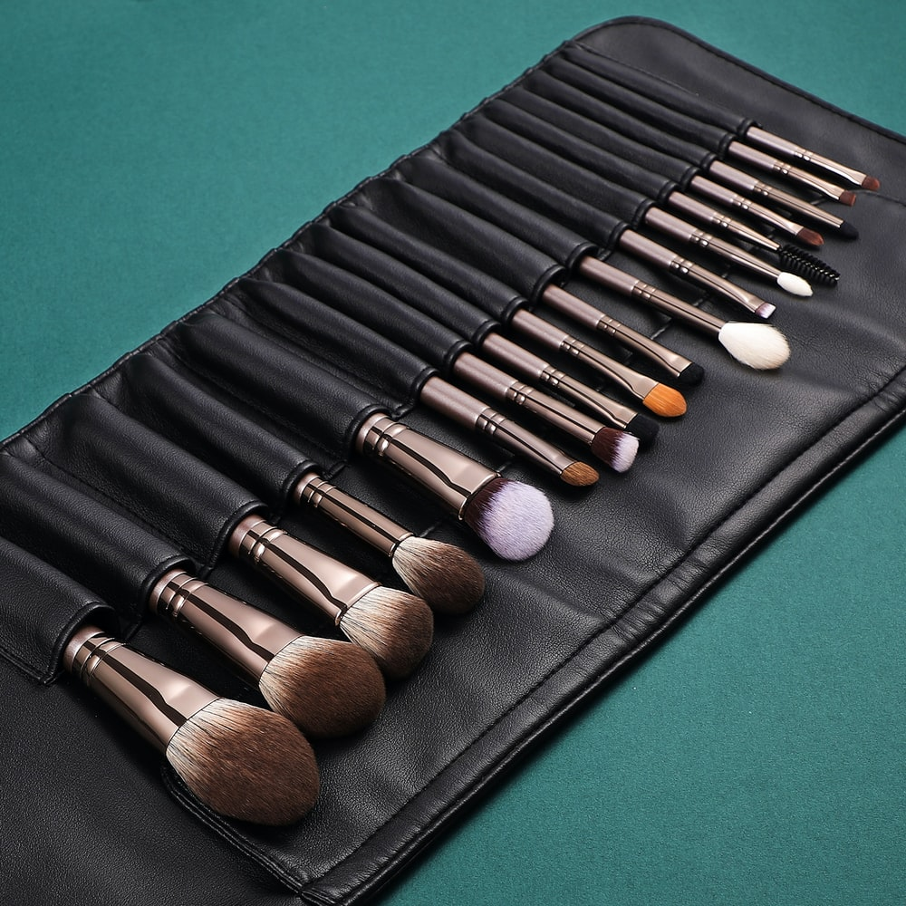 black and brown makeup brush set