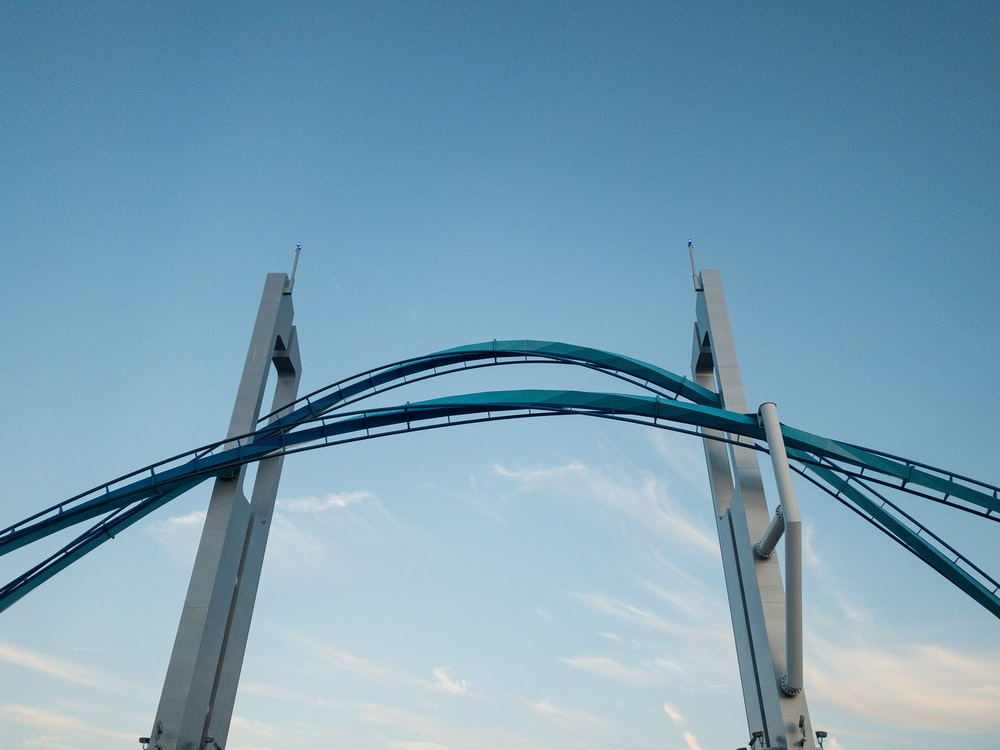 blue and white metal frame under blue sky during daytime