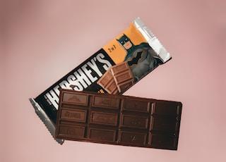 hersheys chocolate bar on white surface
