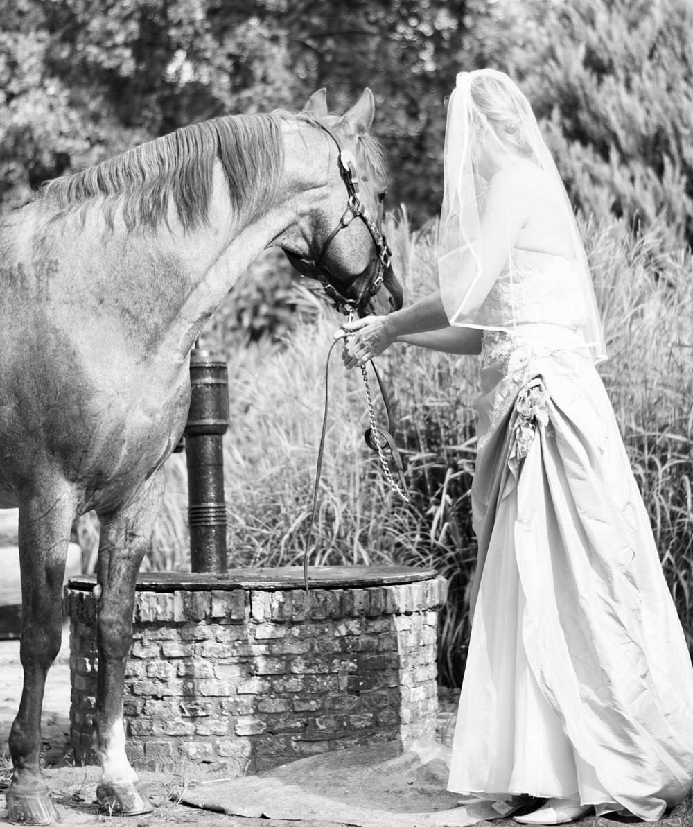 woman in white dress standing beside horse