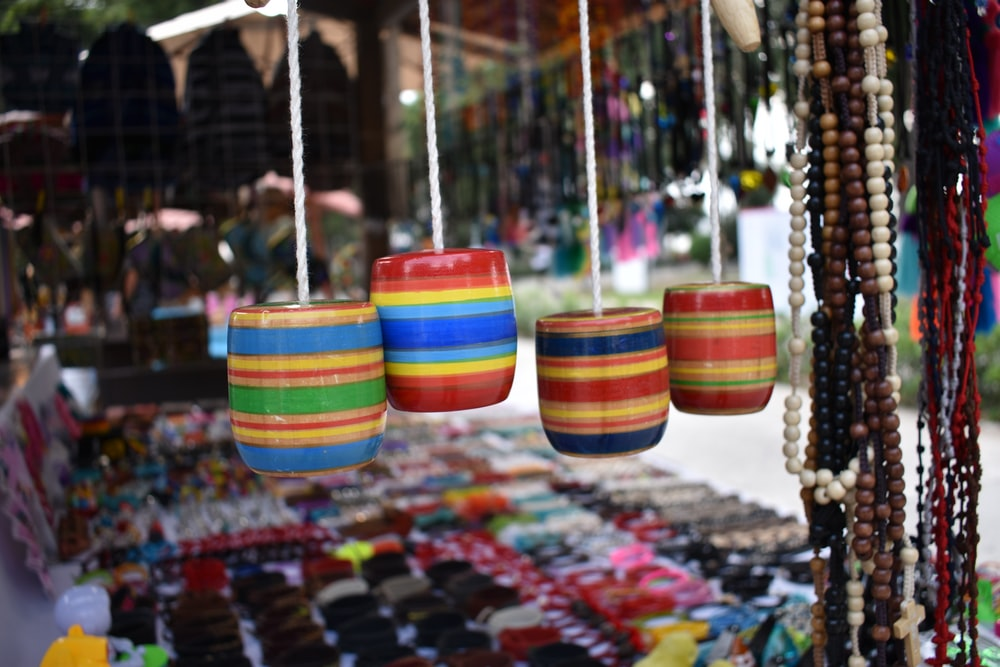 multi colored striped hanging decor