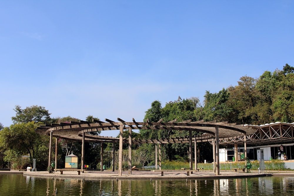 brown wooden gazebo near body of water during daytime