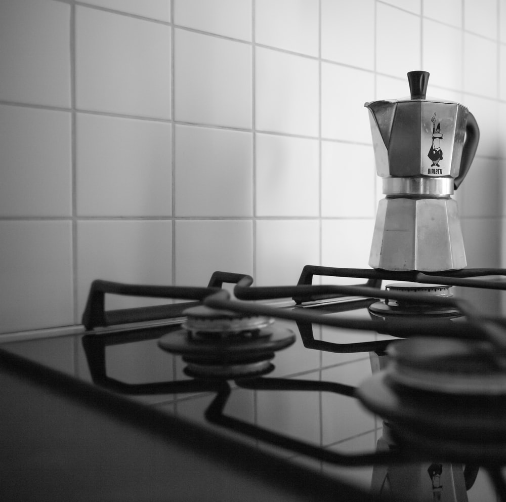 black and silver kettle on stove