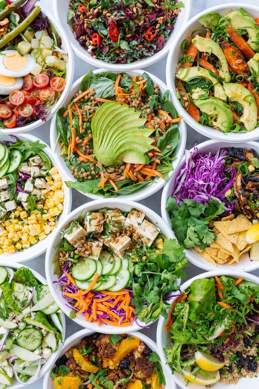 green and purple vegetable salad