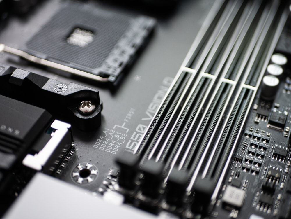 black and silver computer motherboard