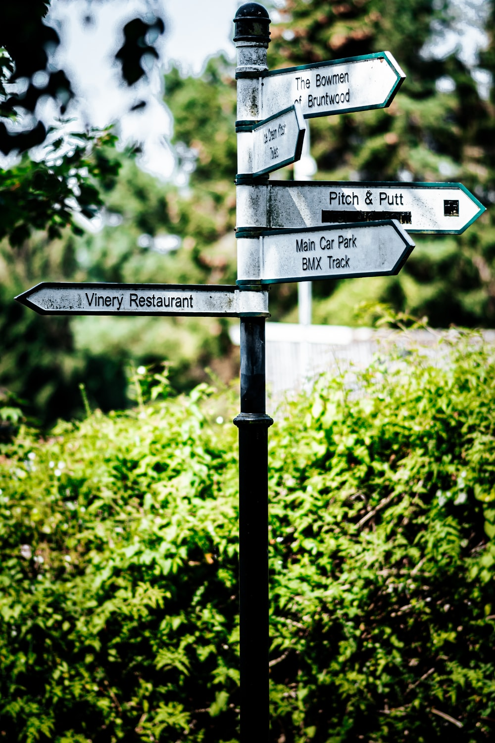black and white street sign