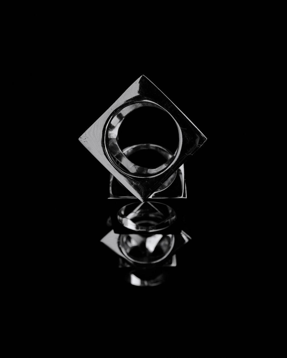 black and white round logo