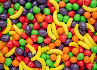 yellow red and green candies