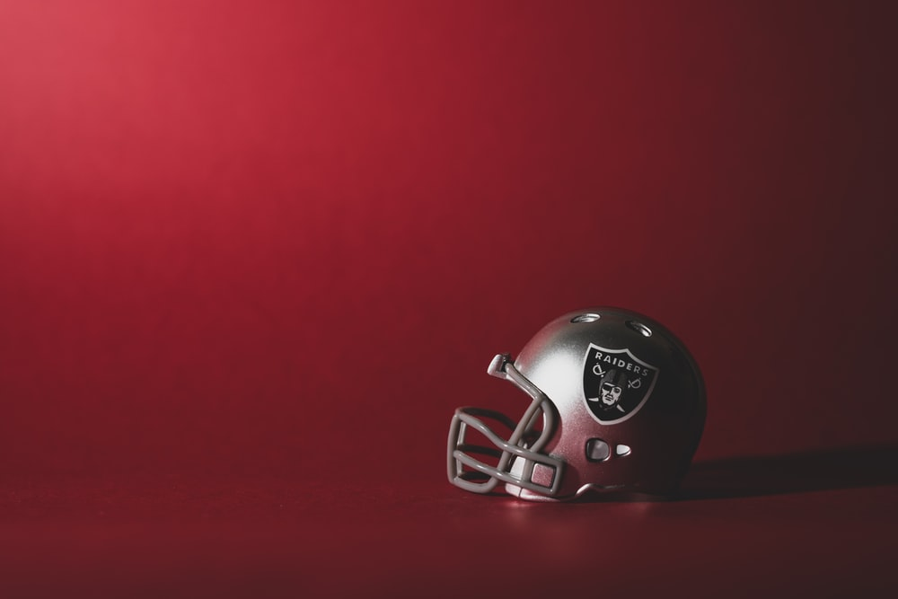 red and white football helmet