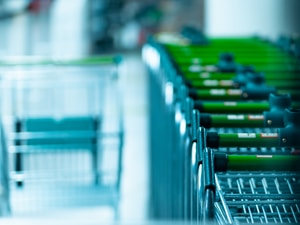 green and gray shopping carts