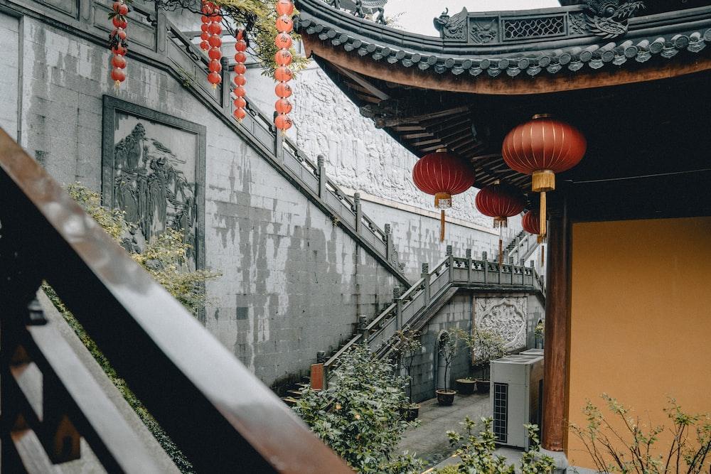 brown and white chinese lantern