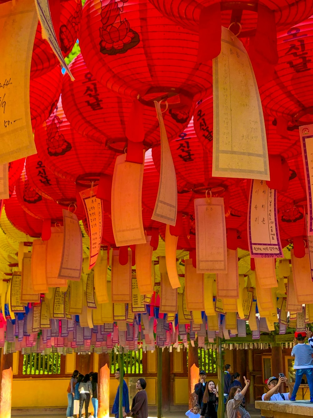 assorted color paper lanterns on display