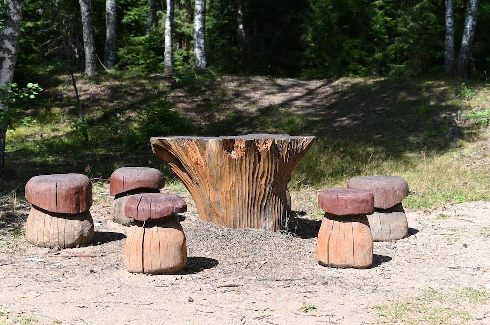 brown wooden logs on ground