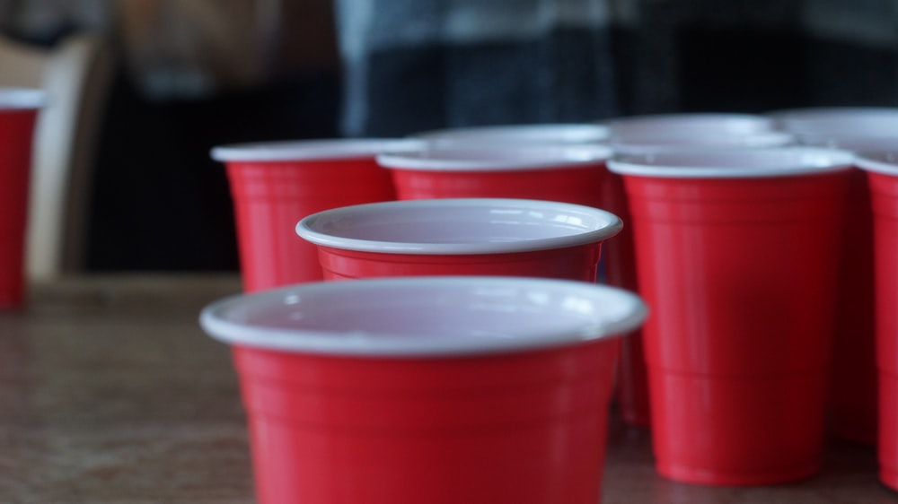 red and white plastic cups
