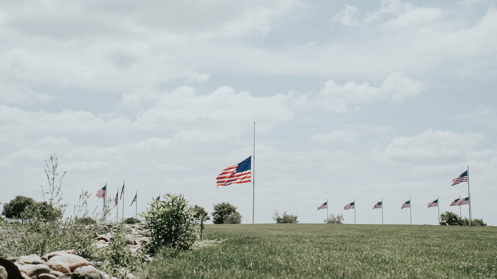 flags on green grass field under white cloudy sky during daytime